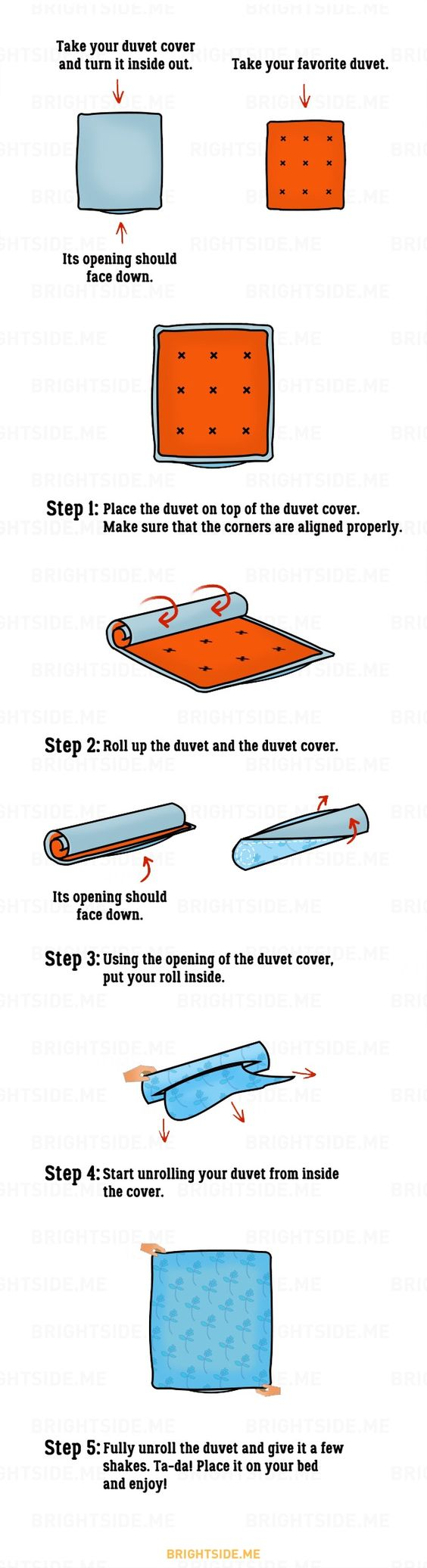 Asurprisingly easy way toput onaduvet cover