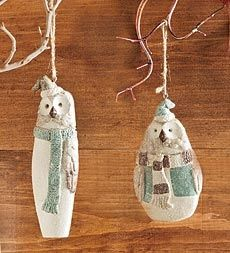 Stan and Ollie Owl Ornaments in Holiday 2012 from Wind & Weather on shop.CatalogSpree.com, my personal digital mall.