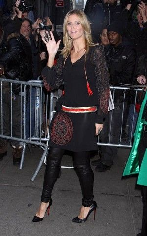 Heidi Klum wearing Christian Louboutin Pigalle 120mm in Black Patent. Heidi Klum Good Morning America December 3 2012