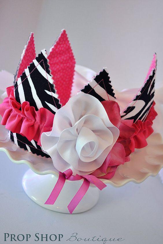 De la niña rosa, blanco y negro Zebra corona y Banner cumpleaños colección, ocasión especial, vestido