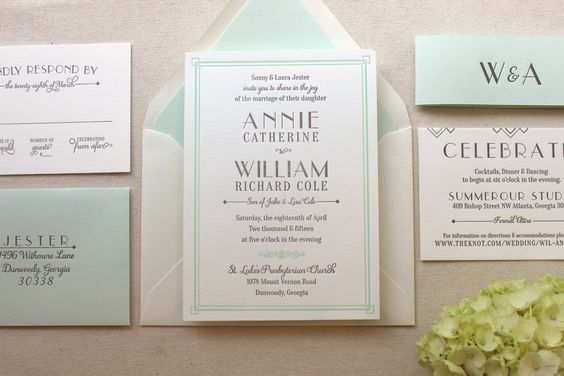 The Lush Deco Suite - Letterpress Wedding Invitation Suite - Art Deco, Gatsby, Garden, Twenties, Green, Mint, Grey, White, Old Hollywood by DinglewoodDesign on Etsy https://www.etsy.com/listing/232391462/the-lush-deco-suite-letterpress-wedding