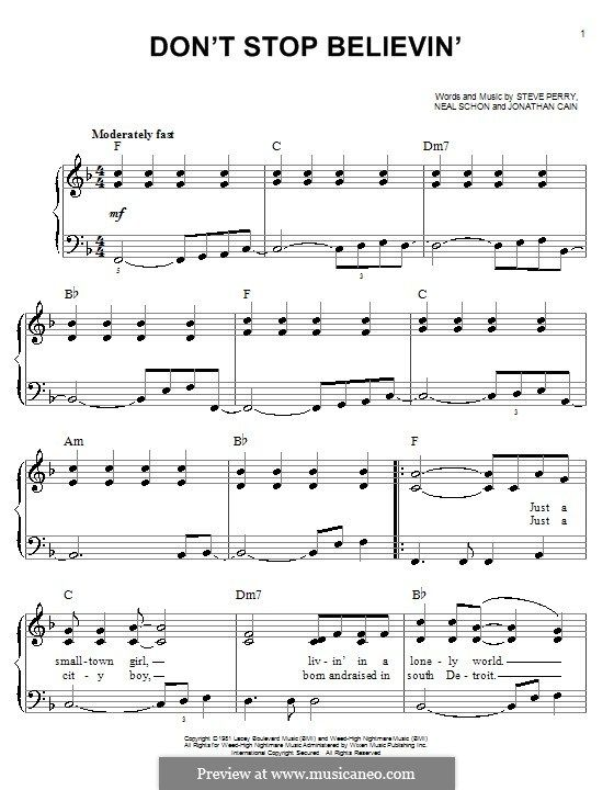Dont Stop Believin Journey For Easy Piano By Jonathan Cain