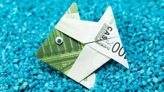 fisch falten aus geldschein diy origami geldgeschenk idee. Black Bedroom Furniture Sets. Home Design Ideas
