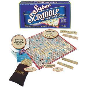 Super Scrabble the Deluxe Edition. Due to overwhelming demand, the scrabble game with More Spaces, More Points and More Tiles is now available. Game board has Raised Grid so that the tiles will stay in place. The board Rotates on smooth ball bearings so you can look at every angle of play. Game comes with 200 Tiles ( compared to 100 ). 441 Spaces (compared to 225). 125 premium scoring spaces (compared to 61) 2 to 4 players.