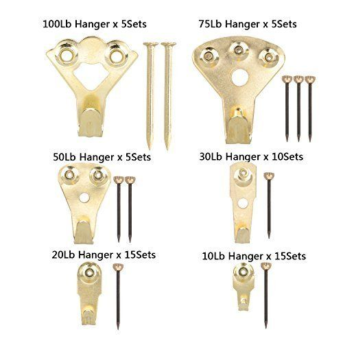 Picture Hangers Overfly 130 Pieces Picture Hooks Frame Hanger Heavy Duty Picture Hanging Kit With Nails For Wall Picture Hangers Frame Hangers Picture Hanging
