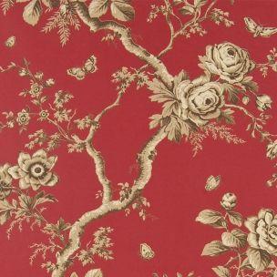 Ashfield Floral est une magnifique toile florale et le dessin favori de la collection : de ravissants papillons virevoltent au milieux d'élégants massifs de roses.