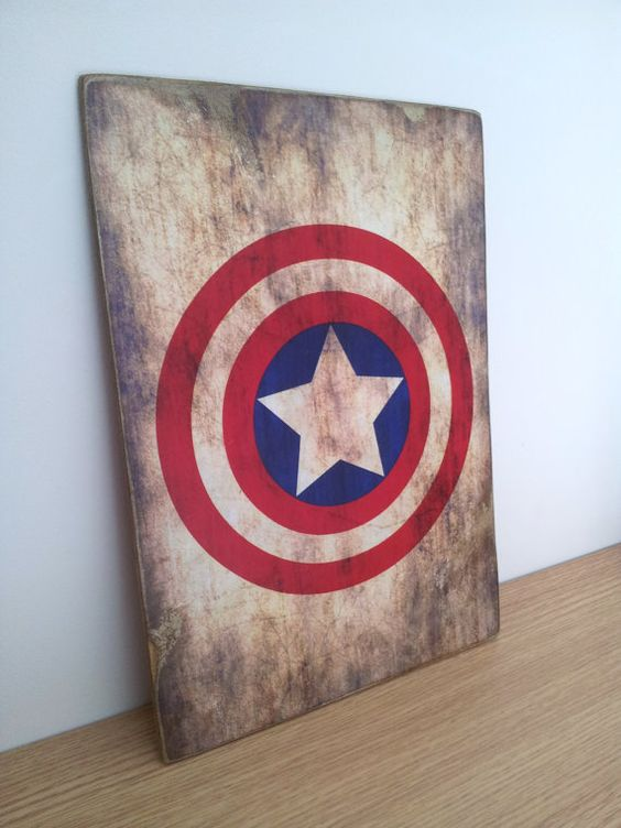 Captain america distressed wooden sign marvel comics wooden board gift for boys - Marvel comics decor ...