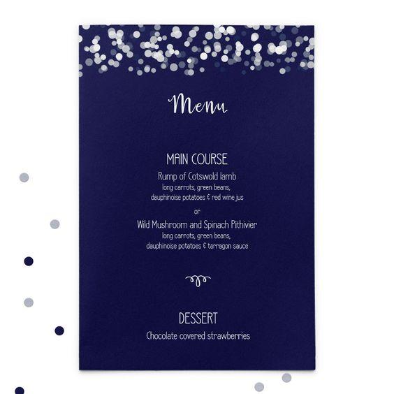 Navy printed wedding menus by GoodEggUK on Etsy