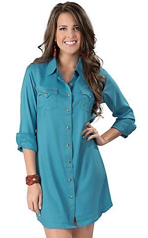 Wrangler Women&39s Medium Wash Denim Long Sleeve Western Shirt Dress ...