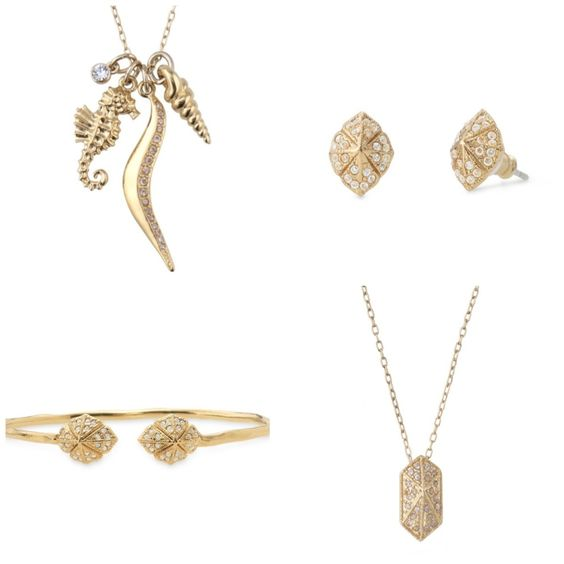 Stella & Dot Sunset Beach charm necklace Eden bangle and studs Valor pendant necklace