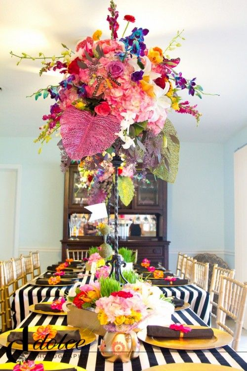 Alice in Wonderland baby shower theme with bold black and white stripes and stunning florals.