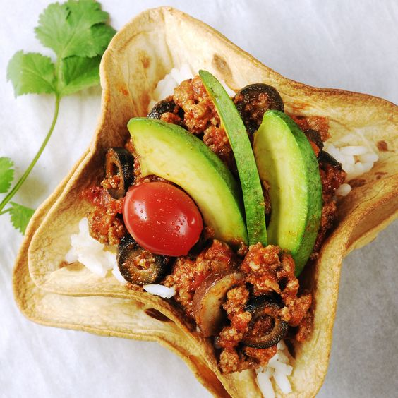 Fiesta taco bowls (instructions on how to make the tortilla bowls without frying them)