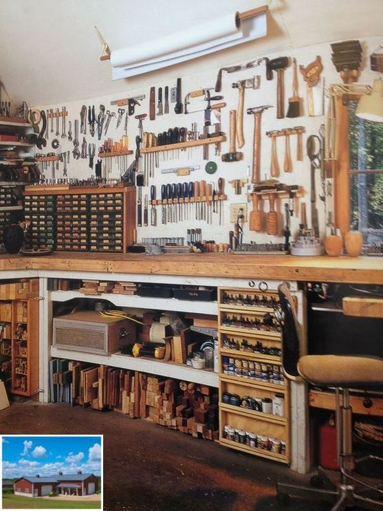 Pics Of Interior Garage Shops As Well As Exterior Garageshop Homeworkshop Workshopideas Garage Work Bench Building A Workbench Garage Workshop