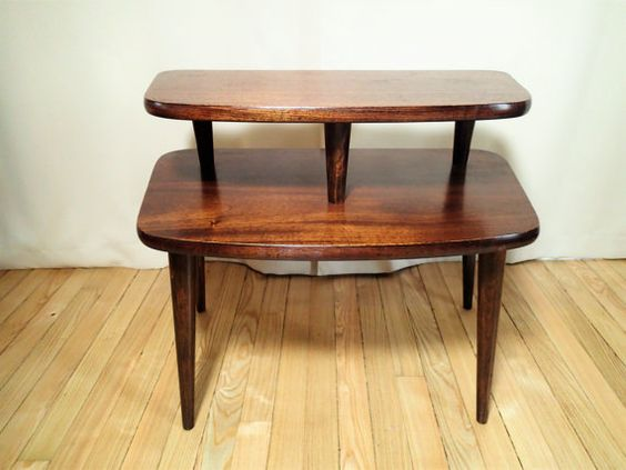 Danish Modern wood table, side table, end table, occasional table, 2 tier