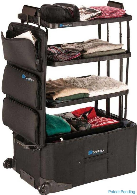 Introducing the ShelfPack, a new kind of luggage with built-in shelves and an innovative, patent pending design. The shelves and front pockets keep your gear organized, visible and easily accessible.  It's perfect for families, business travelers, vacations, cruises, camping and road trips, even home storage.  It's a portable closet.  Limited quantity available, order yours now for quick delivery.