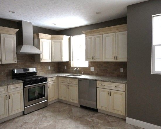 Best Dark Gray Walls With Antique White Cabinets And Stainless 640 x 480