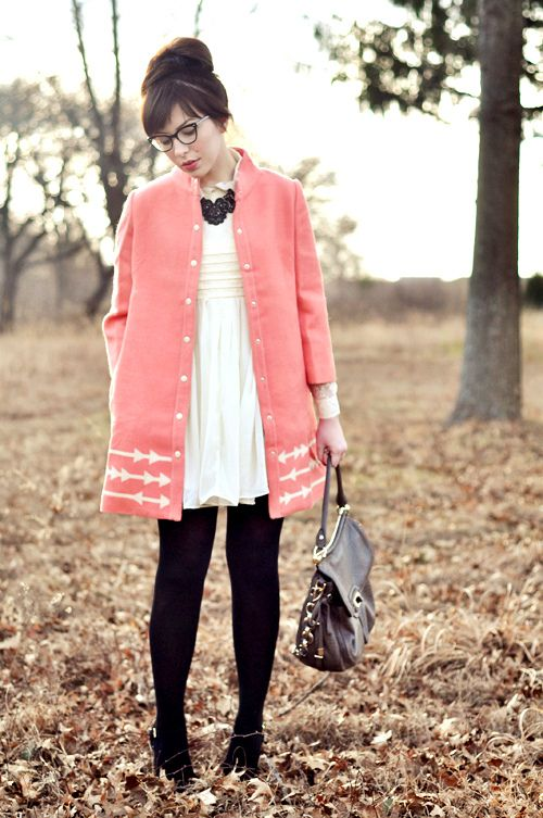 black ankle boots   black tights   white dress   pink coat