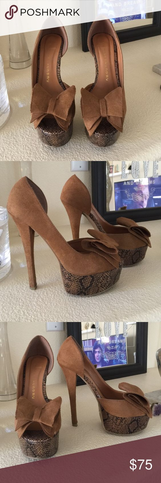 LIKE NEW💫 Chinese Laundry Heels Beautiful light brown Chinese Laundry suede heels featuring a fabric bow in the front and animal print platform and details. Gorgeous shoes! ✨ worn lightly and in excellent condition, a few marks on the back & heel but nothing too noticeable. Chinese Laundry Shoes Platforms