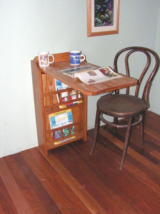 Fold Out End Table Desk Magazine Rack Oak For Rv Trailer Pull Up Leaf Rv Trailer Pull Up