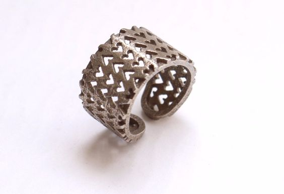 Inverted Hearts Ring in Stainless Steel