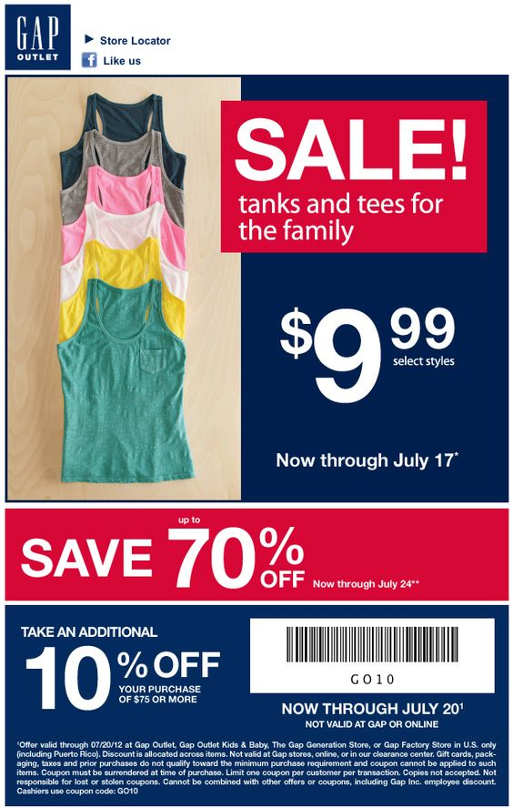Gap Outlet: 10% off $75 Printable Coupon | coupons | Pinterest ...