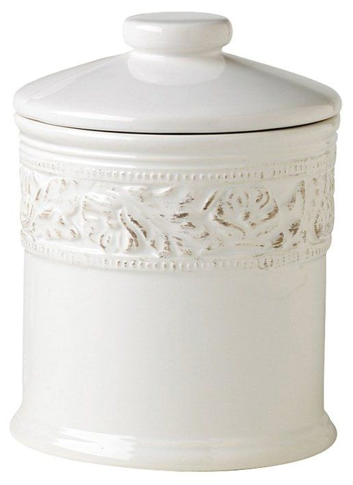 Country Cupboard Large Canister, White - casa.com