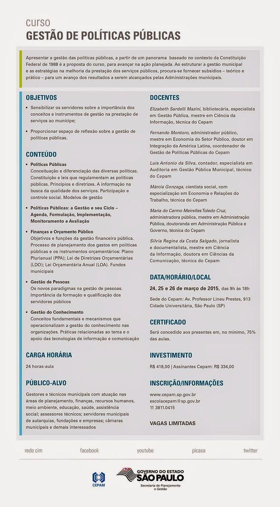 Informações § Contribuinte do Brasil.: Curso Cepam: Gestão de Políticas Públicas