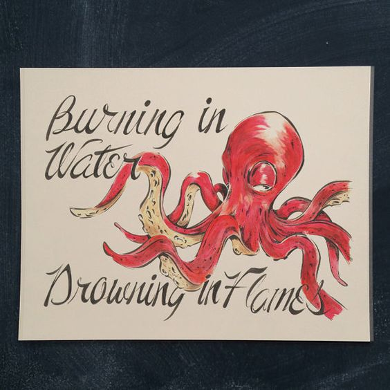 Octopus 11 x 14 by markpenxa on Etsy - painting, squid, marine life, script, hand lettered