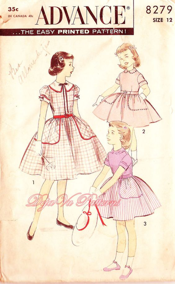 Advance 8279 Vintage 1950s Girl's Pleated Party Dress Sewing Pattern Sz 12