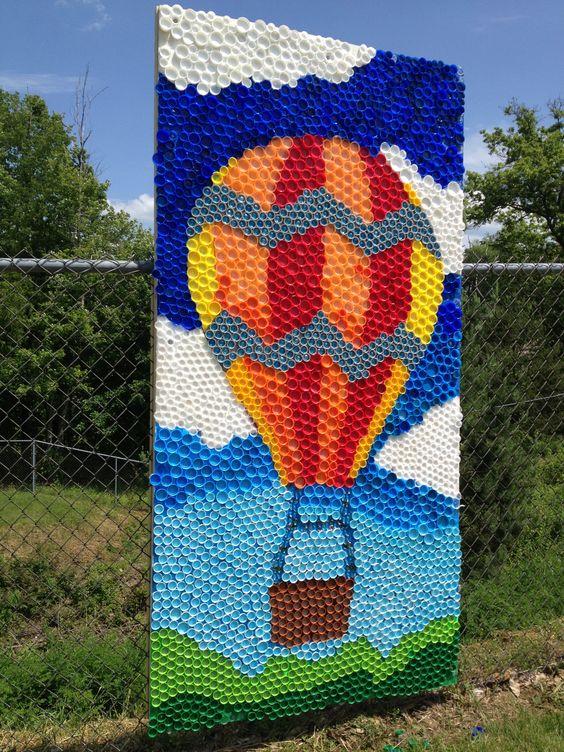 Tapas de botellas murales and huertos escolares on pinterest for Bottle cap mural tutorial