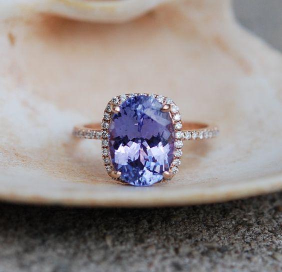 Tanzanite Ring. Rose Gold Engagement Ring Lavender Lilac Tanzanite emarald cut halo engagement ring 14k rose gold.