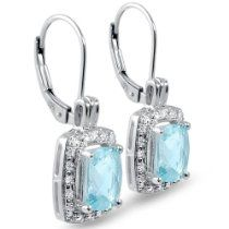 Sky Blue Topaz and Diamond Lever-Back Earrings set in Sterling Silver