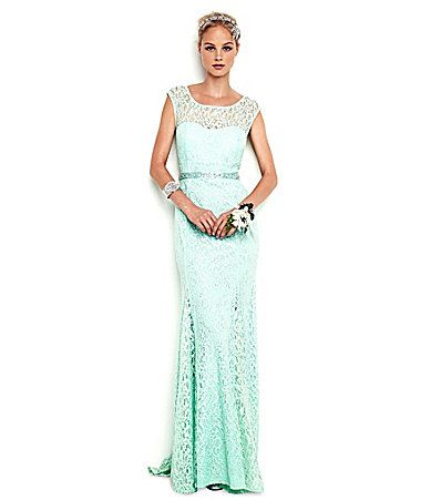I think I found the dress! Sequin Hearts CapSleeve Lace Gown ...