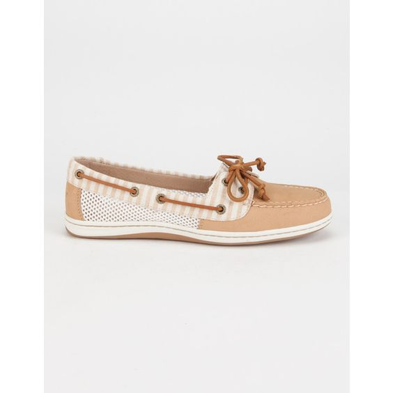 SPERRY Firefish Stripe Mesh Womens Boat Shoes ($90) ❤ liked on Polyvore featuring shoes, loafers, sand, stripe shoes, sperry top-sider shoes, deck shoes, boat shoes and sand shoes
