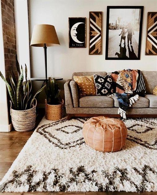 Wonderful Beautiful Boho Southwestern Style Living Room The Rust Orange Color Really Add Minimalist Living Room Design Minimalist Living Room Boho Living Room