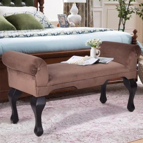 Entryway Benches Rolled Arms Upholstered Wood Leg Bench Living Room Chair Seat Brown Sofa Living Room Sofa Bed With Storage Living Room Sofa