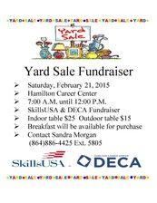 Yard Sale for Skills USA at Hamilton Career Center, Saturday, February 21, 2015