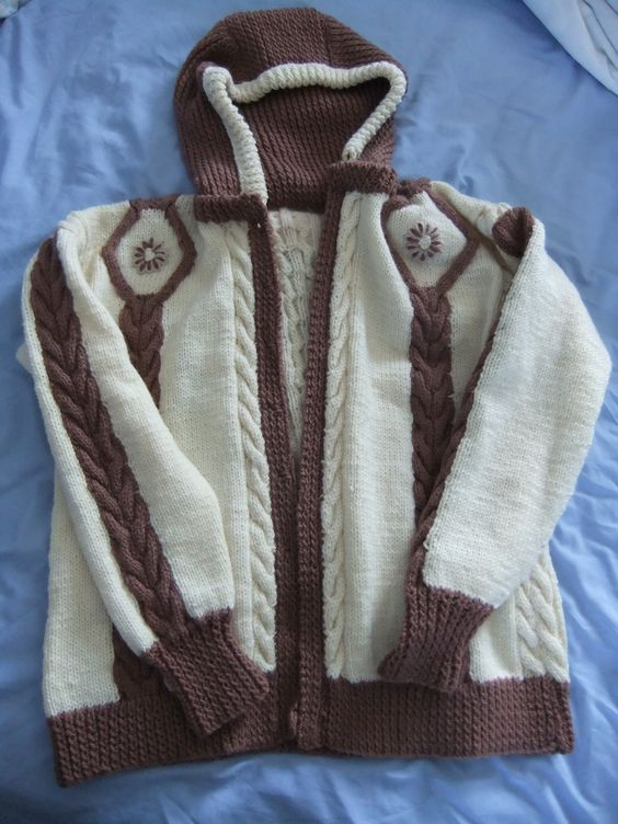 Arran cardigan made with odd balls of wool