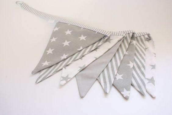 Grey Flag Bunting Banner, Grey Bunting, Nursery Banner Decor,Garland, Stripes Stars Bunting Banner, Boy Bunting Baner