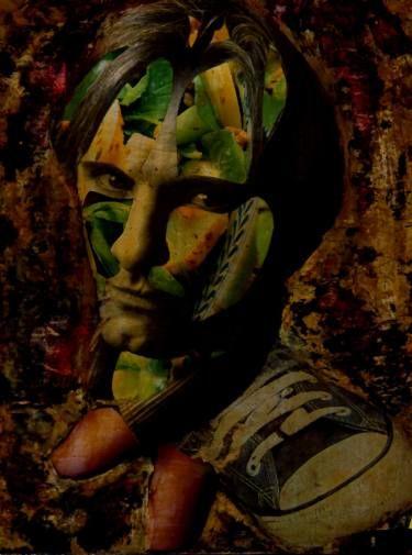 """Saatchi Art Artist CARMEN LUNA; Collage, """"106-COLLAGES Pintados. Viggo Mortensen."""" #art"""