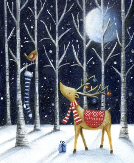Ileana Oakley - Christmas Reindeer Robin Snow Moon Trees: