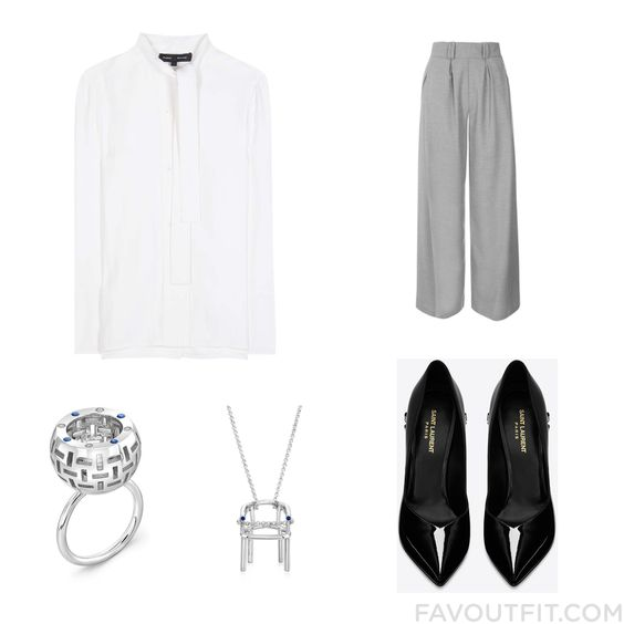 Clothing Update Including Blouse Wide Leg Pants Yves Saint Laurent Pumps And Diamond Jewelry From November 2016 #outfit #look
