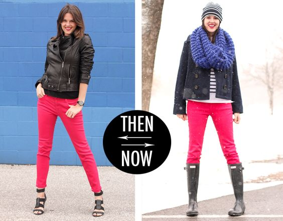 Two looks for my red jeans!  What I Wore blog