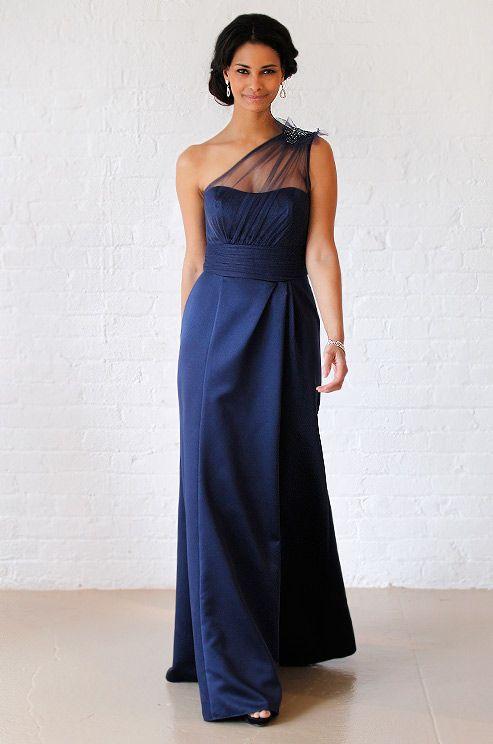 David 39 s bridal royal blue navy blue wedding dress fall for Navy dress for fall wedding