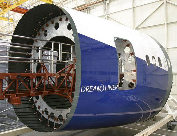 Uma secção da fuselagem do Dreamliner. Imagem: Ken DeJarlais.