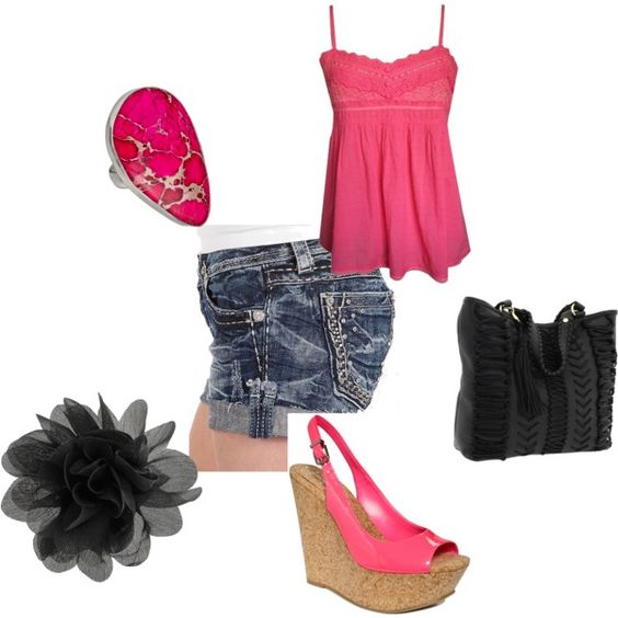 """Black N Pink"" by tayszebras on Polyvore"