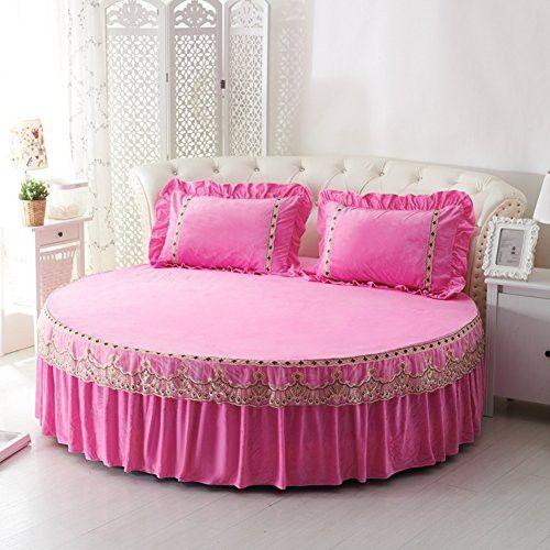 Round Bed Sheets Crystal Velvet Warm Bedspreads Soft Bed Cover
