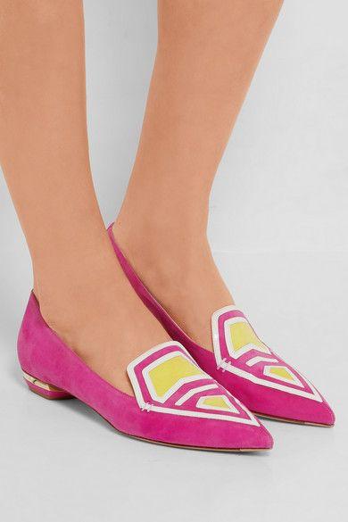 Nicholas Kirkwood | Chaussures plates à bouts pointus en daim à finitions en cuir verni Leia | NET-A-PORTER.COM