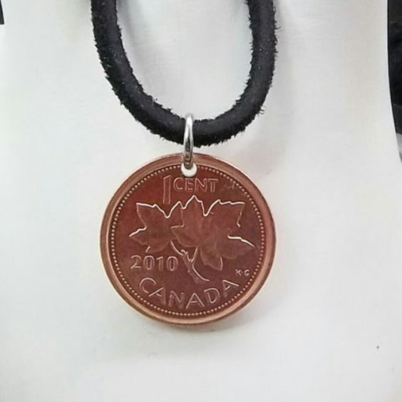 Necklace made with a 2010 Canadian Penny.