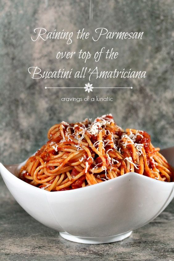 Bucatini all'Amatriciana from cravingsofalunatic.com- Simple recipe for classic pasta that will rock your world. (@CravingsLunatic)
